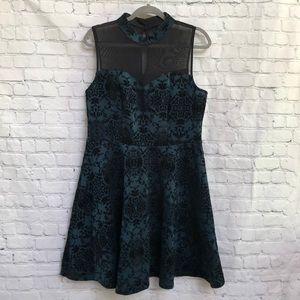 Trixxi Greenish Blue Black Fit & Flare Dress- 14